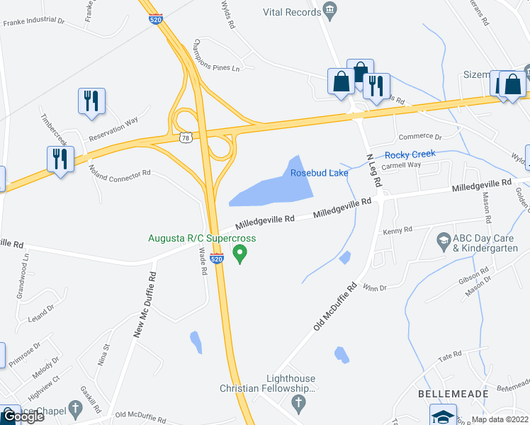 map of restaurants, bars, coffee shops, grocery stores, and more near 3451 Milledgeville Road in Augusta