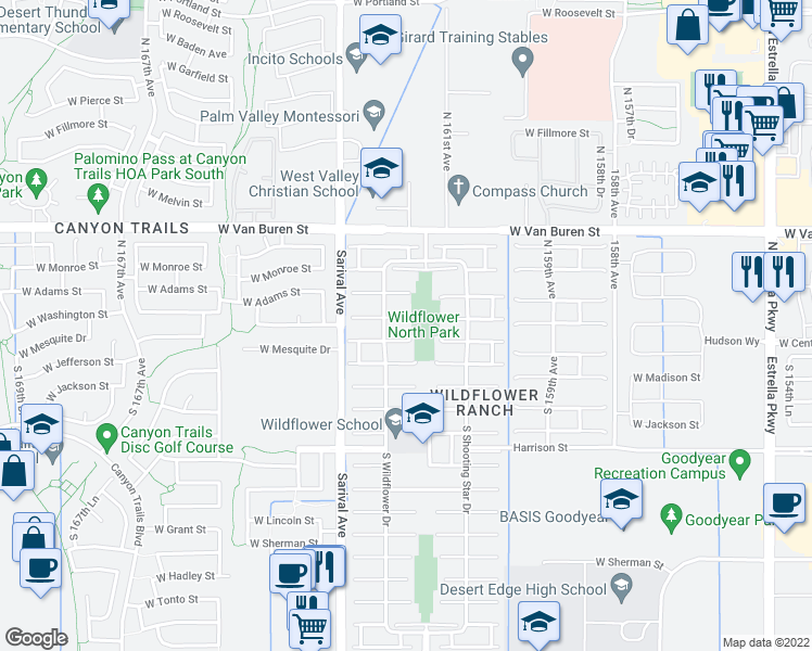 map of restaurants, bars, coffee shops, grocery stores, and more near 16181 West Washington Street in Goodyear