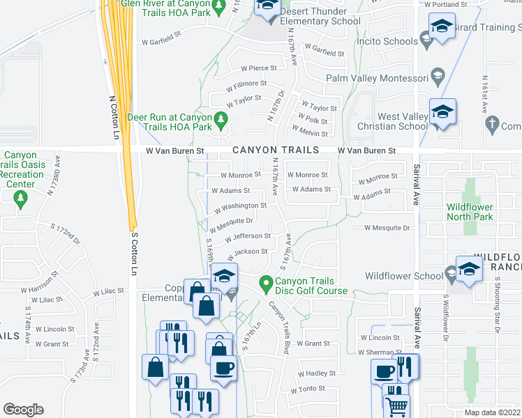map of restaurants, bars, coffee shops, grocery stores, and more near 16741 West Washington Street in Goodyear