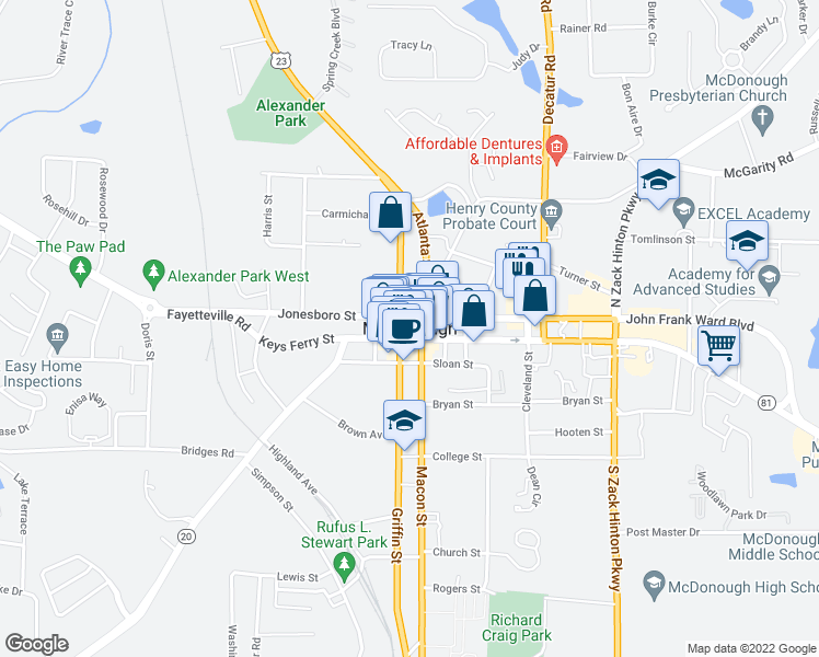 map of restaurants, bars, coffee shops, grocery stores, and more near in McDonough