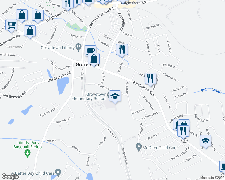 map of restaurants, bars, coffee shops, grocery stores, and more near 310 Ford Avenue in Grovetown