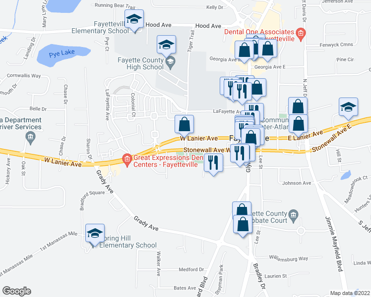 map of restaurants, bars, coffee shops, grocery stores, and more near Lafayette Avenue West in Fayetteville