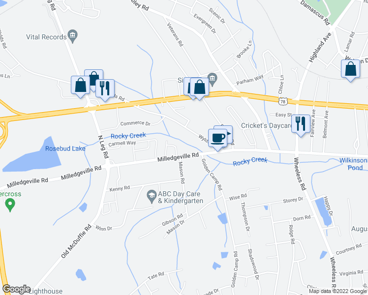 map of restaurants, bars, coffee shops, grocery stores, and more near 3331 Milledgeville Road in Augusta