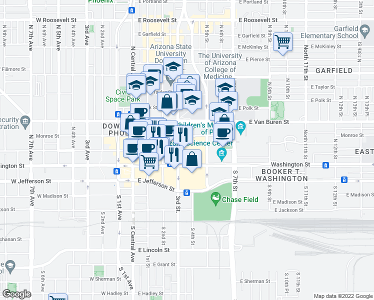 map of restaurants, bars, coffee shops, grocery stores, and more near 100 North 3rd Street in Phoenix