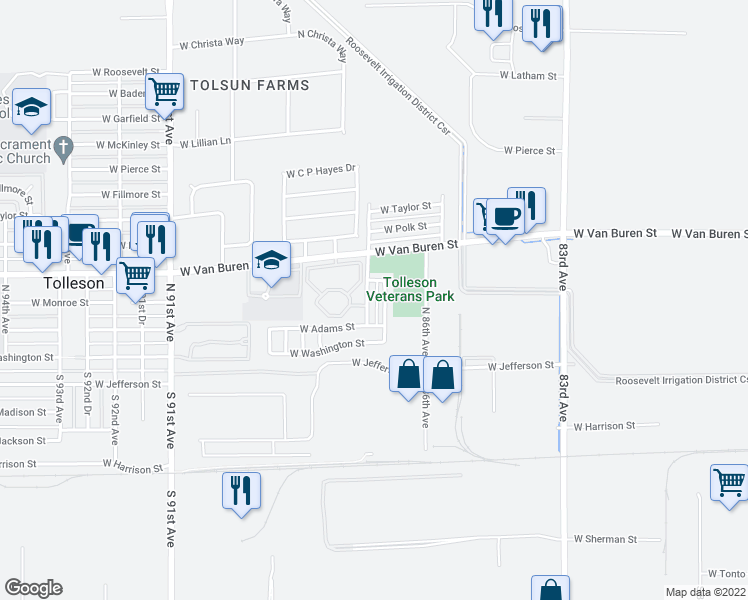 map of restaurants, bars, coffee shops, grocery stores, and more near 119 North 87th Avenue in Tolleson