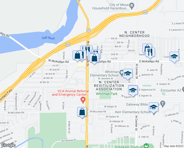 map of restaurants, bars, coffee shops, grocery stores, and more near 1903 North Country Club Drive in Mesa
