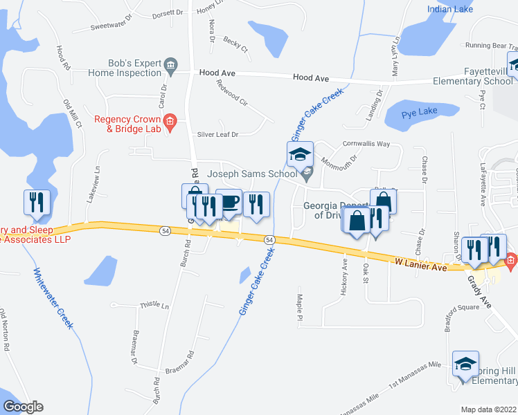 map of restaurants, bars, coffee shops, grocery stores, and more near 125 Marquis Drive in Fayetteville