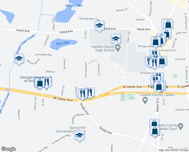 map of restaurants, bars, coffee shops, grocery stores, and more near Westover Commons in Fayetteville