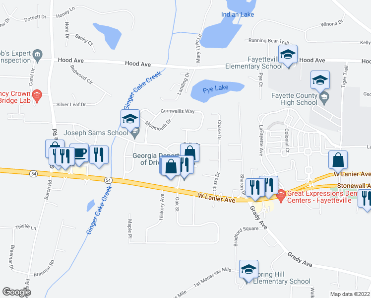 map of restaurants, bars, coffee shops, grocery stores, and more near 160 Belle Drive in Fayetteville