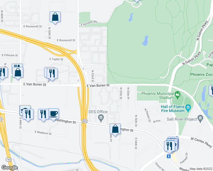map of restaurants, bars, coffee shops, grocery stores, and more near 5302 East Van Buren Street in Phoenix