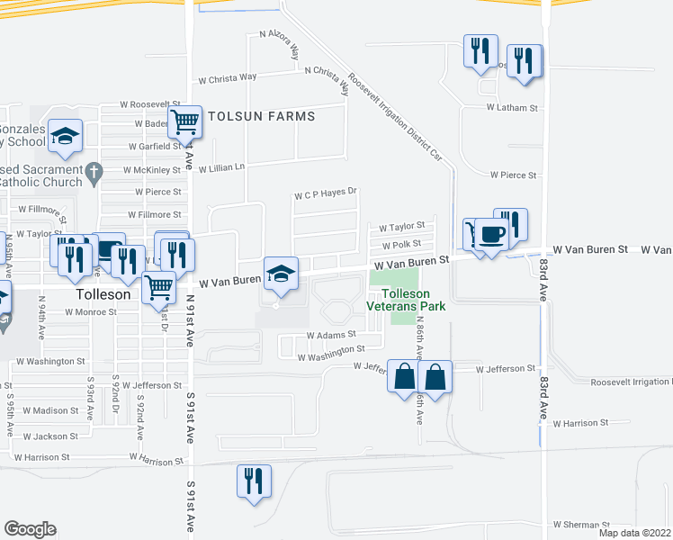 map of restaurants, bars, coffee shops, grocery stores, and more near 8701 West Van Buren Street in Tolleson