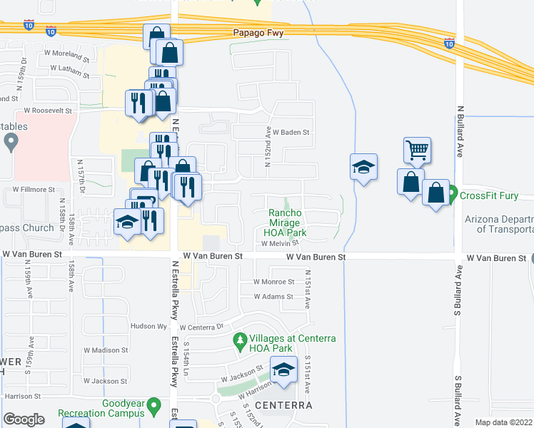 map of restaurants, bars, coffee shops, grocery stores, and more near 15199 West Taylor Street in Goodyear