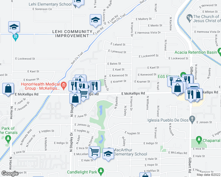 map of restaurants, bars, coffee shops, grocery stores, and more near 1467-1491 East McKellips Road in Mesa