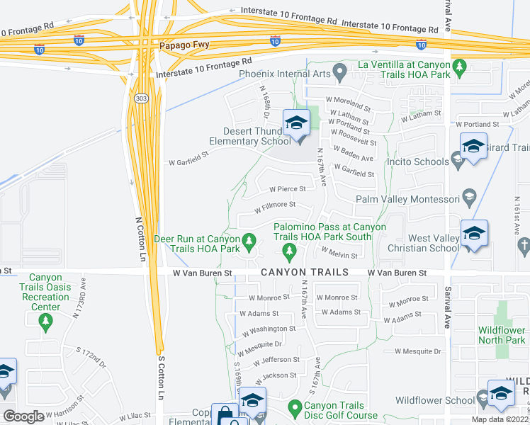 map of restaurants, bars, coffee shops, grocery stores, and more near 16803 West Fillmore Street in Goodyear