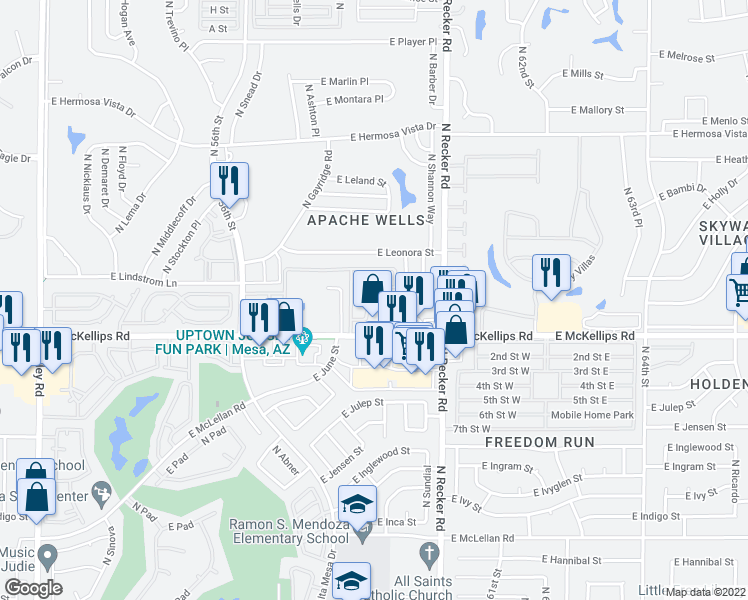 map of restaurants, bars, coffee shops, grocery stores, and more near 5830 East McKellips Road in Mesa