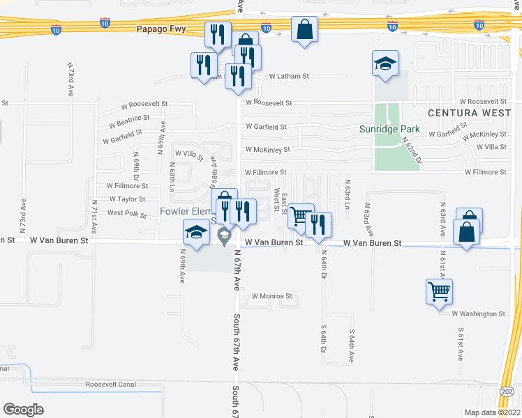 map of restaurants, bars, coffee shops, grocery stores, and more near 6614 West Polk Street in Phoenix