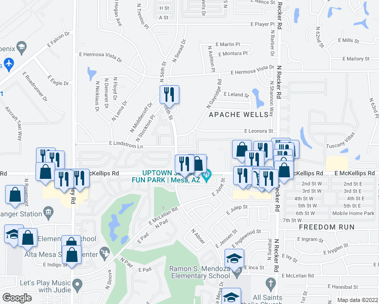 map of restaurants, bars, coffee shops, grocery stores, and more near North Apache Wells Condos & East Apache Wells Condos in Mesa