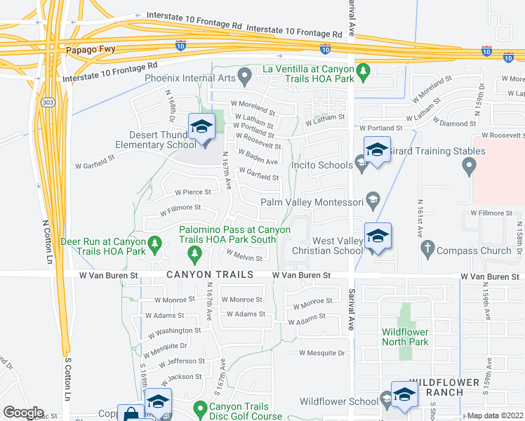 map of restaurants, bars, coffee shops, grocery stores, and more near 16591 West Pierce Street in Goodyear