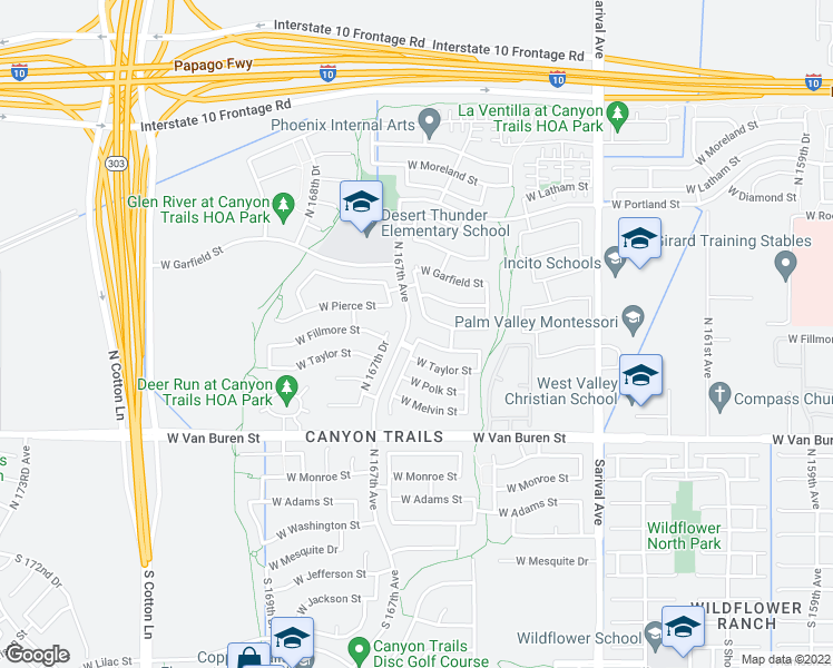 map of restaurants, bars, coffee shops, grocery stores, and more near 618 North 166th Lane in Goodyear