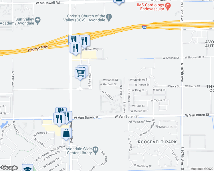map of restaurants, bars, coffee shops, grocery stores, and more near 11219 West Garfield Street in Avondale