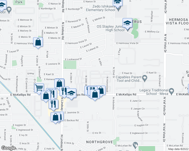 map of restaurants, bars, coffee shops, grocery stores, and more near 3834-3842 East Kramer Street in Mesa