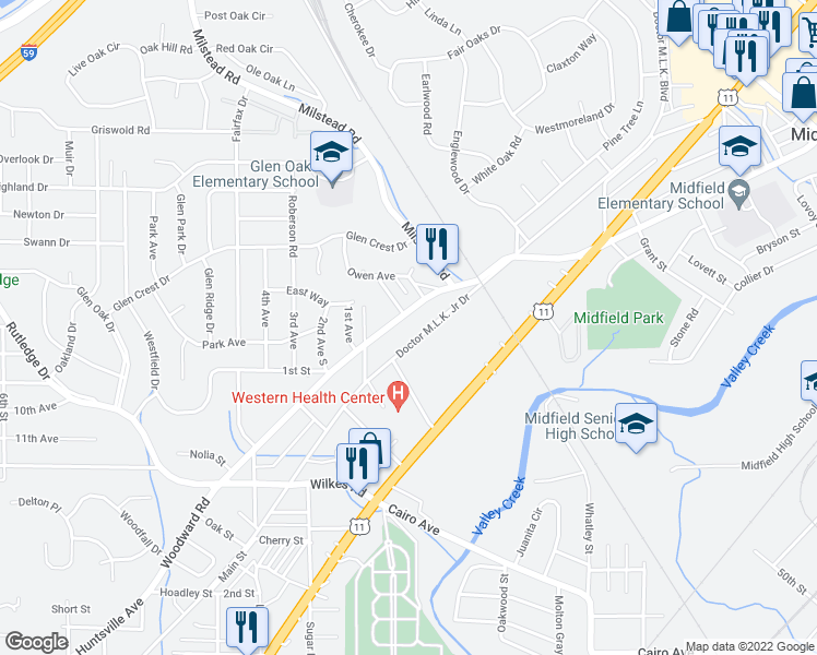 map of restaurants, bars, coffee shops, grocery stores, and more near 802 Woodward Road in Birmingham