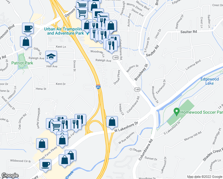 map of restaurants, bars, coffee shops, grocery stores, and more near 1126 Iredell Circle in Birmingham