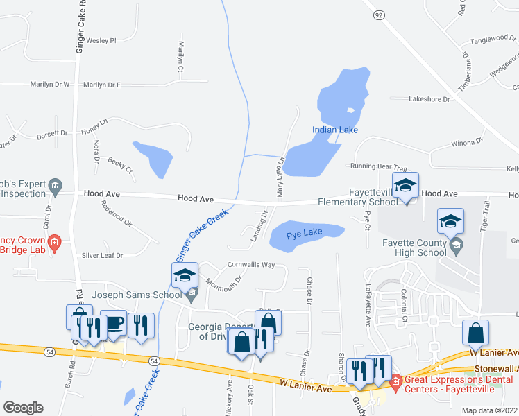 map of restaurants, bars, coffee shops, grocery stores, and more near 115 Gingerbread Place in Fayetteville