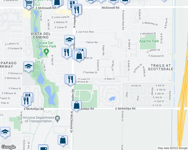 map of restaurants, bars, coffee shops, grocery stores, and more near 720 North 82nd Street in Scottsdale