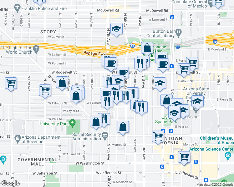map of restaurants, bars, coffee shops, grocery stores, and more near 634 North 6th Avenue in Phoenix