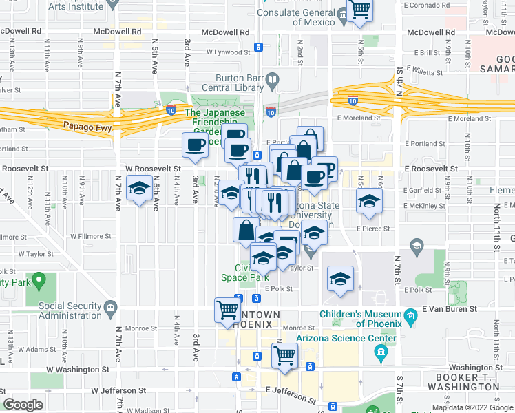 map of restaurants, bars, coffee shops, grocery stores, and more near 800 North Central Avenue in Phoenix