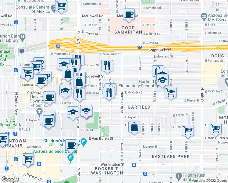 map of restaurants, bars, coffee shops, grocery stores, and more near 1001 East Garfield Street in Phoenix