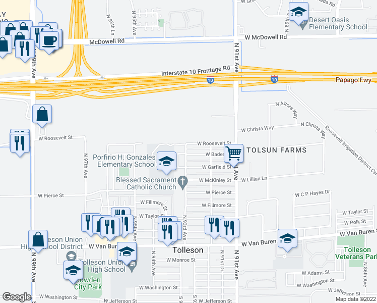 map of restaurants, bars, coffee shops, grocery stores, and more near 1003 North 93rd Avenue in Tolleson