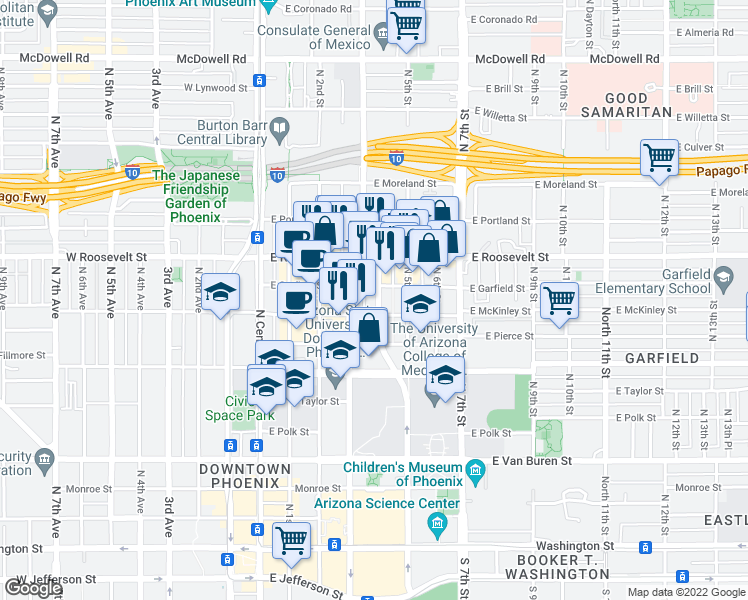 map of restaurants, bars, coffee shops, grocery stores, and more near 888 North 4th Street in Phoenix