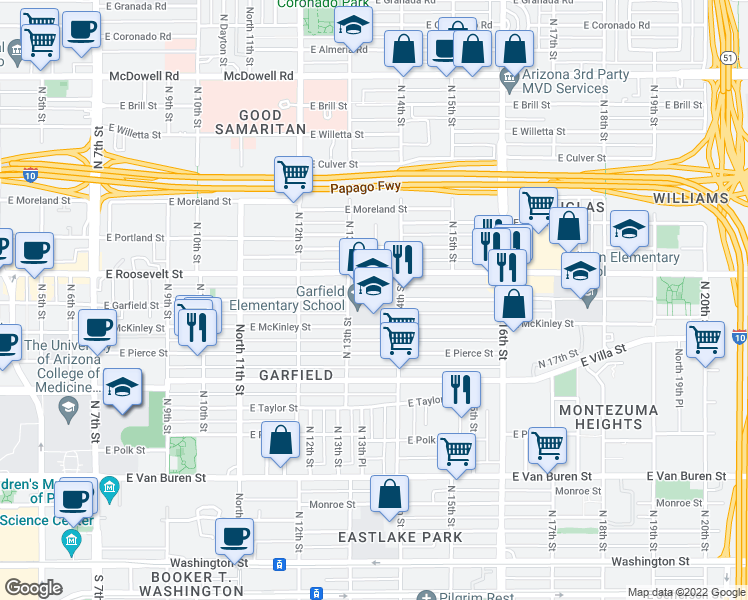 map of restaurants, bars, coffee shops, grocery stores, and more near 811 North 13th Street in Phoenix