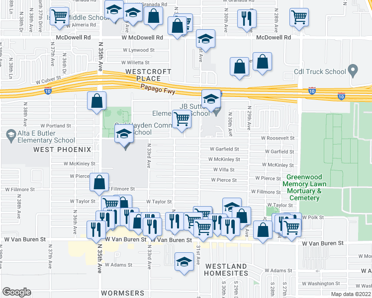 map of restaurants, bars, coffee shops, grocery stores, and more near 3124 West Garfield Street in Phoenix