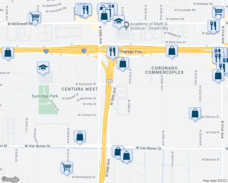 map of restaurants, bars, coffee shops, grocery stores, and more near 801 North 59th Avenue in Phoenix
