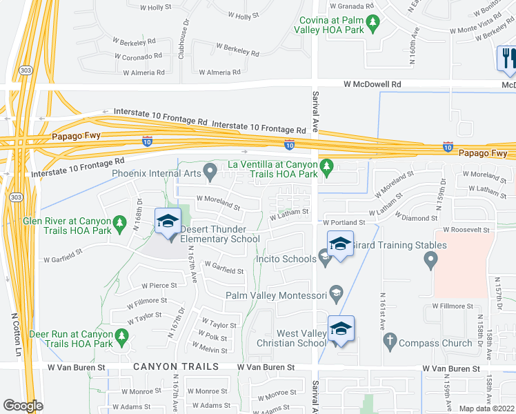 map of restaurants, bars, coffee shops, grocery stores, and more near 16504 West Moreland Street in Goodyear