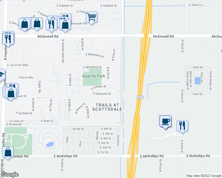 map of restaurants, bars, coffee shops, grocery stores, and more near 8718 East Portland Street in Scottsdale