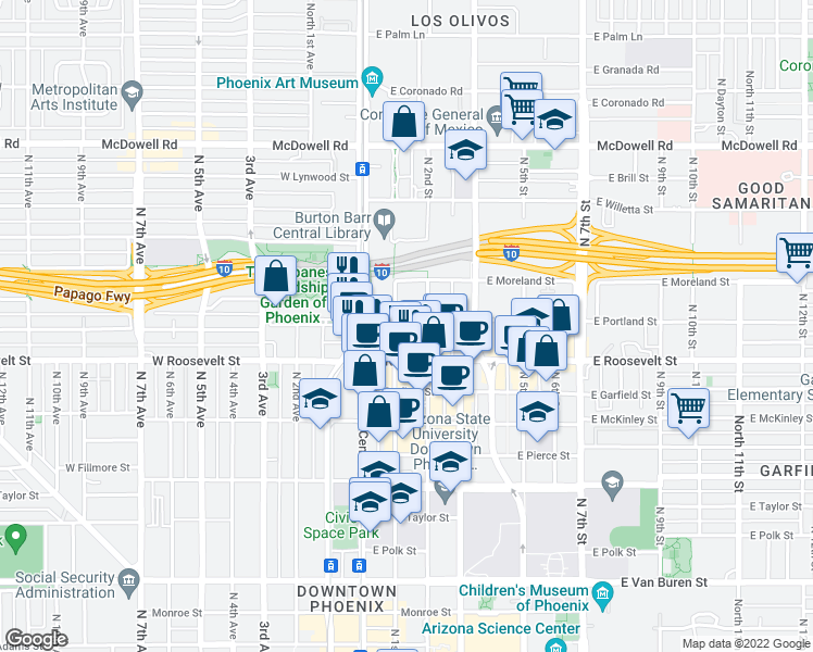 map of restaurants, bars, coffee shops, grocery stores, and more near 1030 North 3rd Street in Phoenix