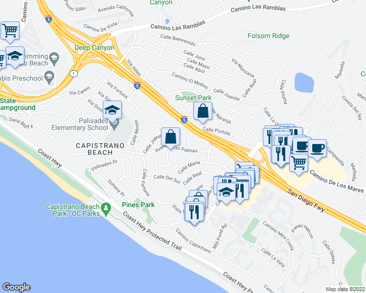 map of restaurants, bars, coffee shops, grocery stores, and more near 26831 Avenida Las Palmas in Dana Point