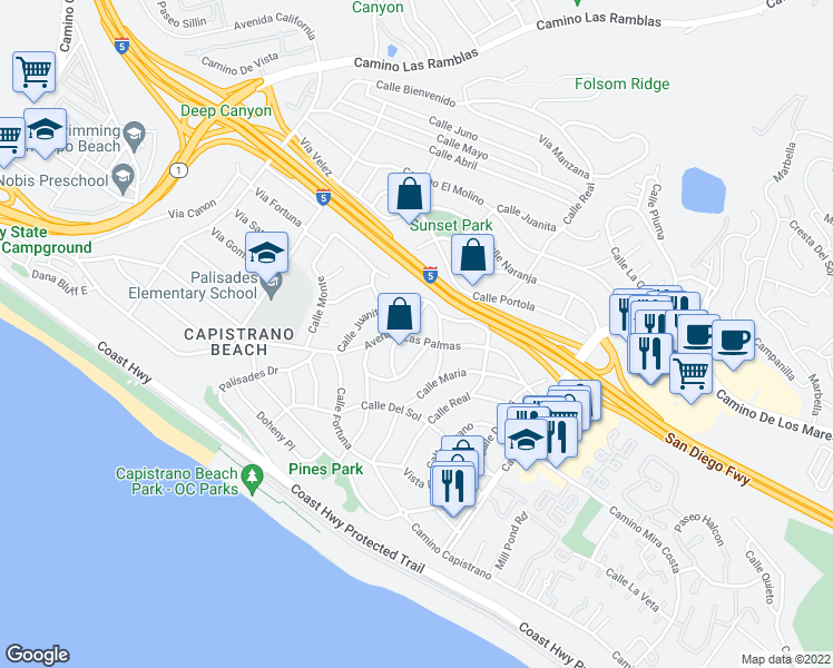 map of restaurants, bars, coffee shops, grocery stores, and more near 26801 Avenida Las Palmas in Dana Point
