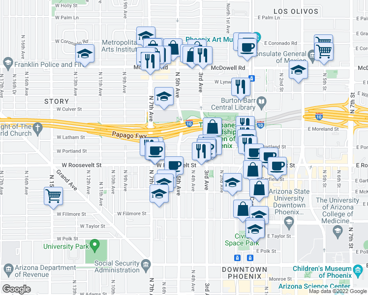 map of restaurants, bars, coffee shops, grocery stores, and more near 348 West Portland Street in Phoenix