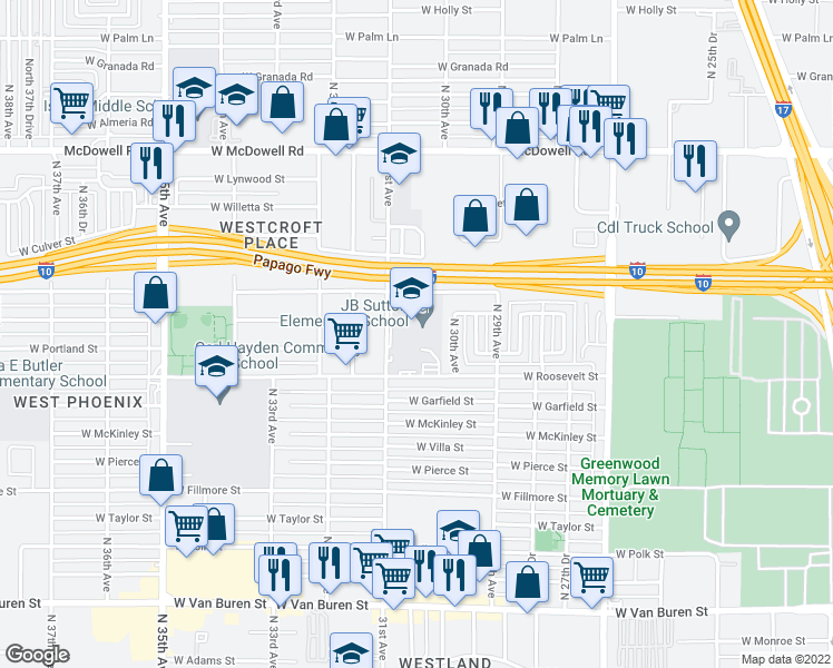 map of restaurants, bars, coffee shops, grocery stores, and more near 1001 North 31st Avenue in Phoenix