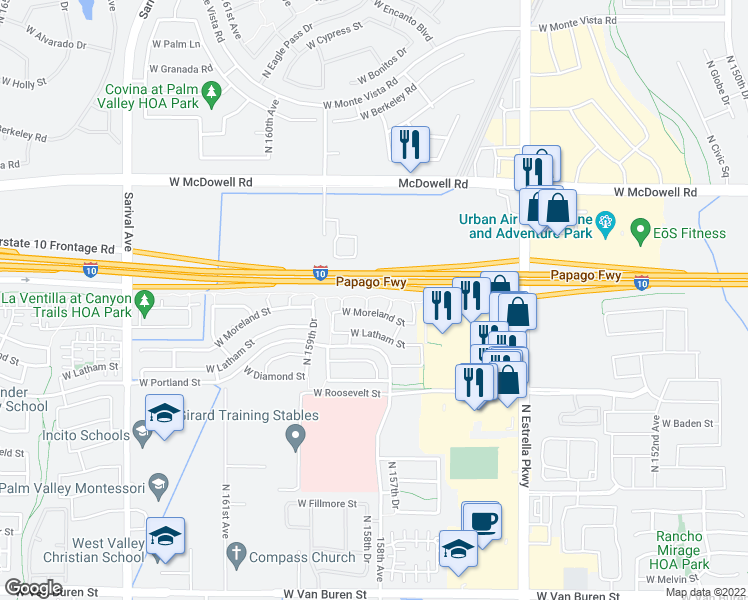 map of restaurants, bars, coffee shops, grocery stores, and more near 1231 North 158th Drive in Goodyear