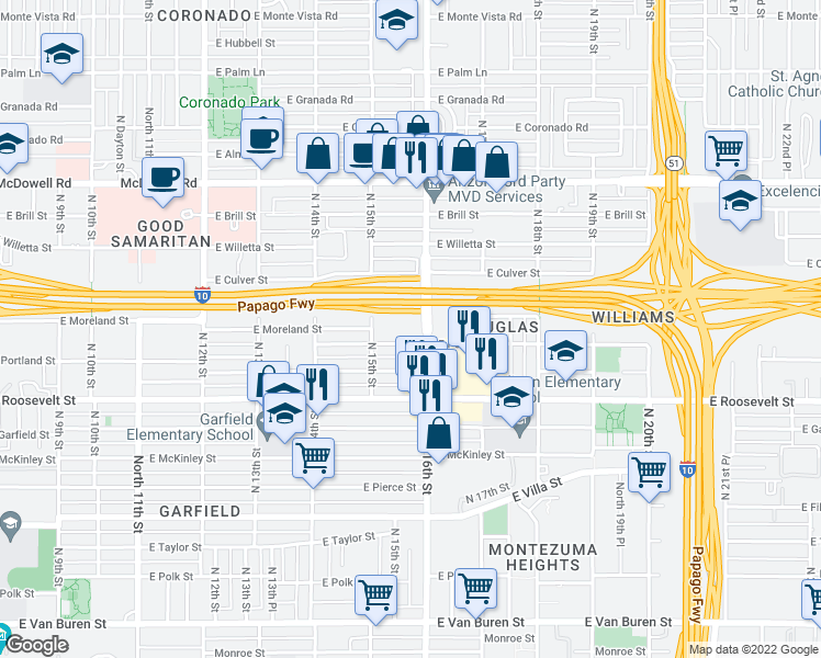 map of restaurants, bars, coffee shops, grocery stores, and more near 1110 North 16th Street in Phoenix