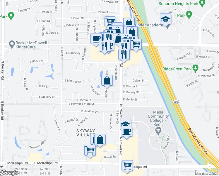 map of restaurants, bars, coffee shops, grocery stores, and more near 6730 East Hermosa Vista Drive in Mesa