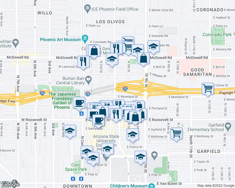 map of restaurants, bars, coffee shops, grocery stores, and more near 300 East Moreland Street in Phoenix