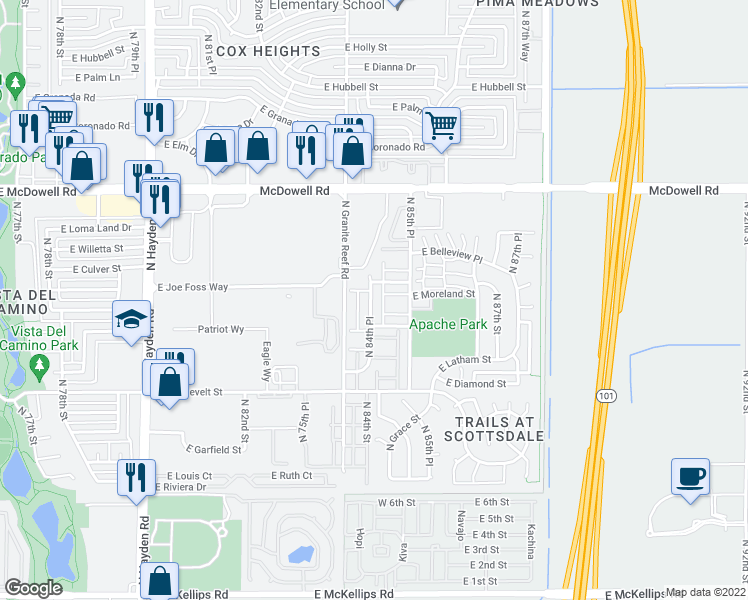 map of restaurants, bars, coffee shops, grocery stores, and more near 1261 North 84th Place in Scottsdale