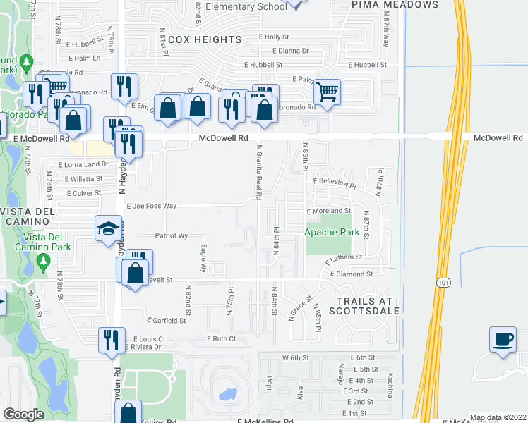map of restaurants, bars, coffee shops, grocery stores, and more near 1253 North Granite Reef Road in Scottsdale